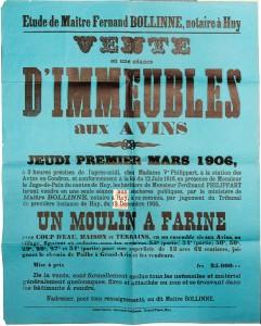 ffiche de vente du moulin en 1906