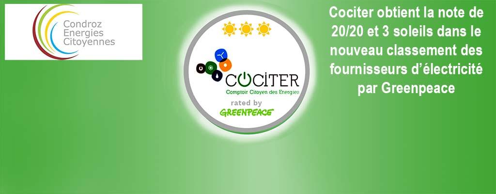 Cociter obtient 3 soleils au nouveau classement de Greenpeace